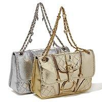 Diane Gilman Snake-Embossed Metallic Leather Handbag