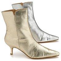 Diane Gilman Snake-Embossed Metallic Leather Ankle Boot